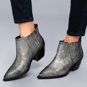 Boho Pointy Toe Metallic Leather Ankle Bootie